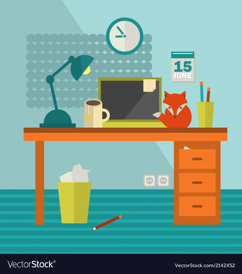 Workplace with notebook and cute red fox near vector | Price: 1 Credit (USD $1)
