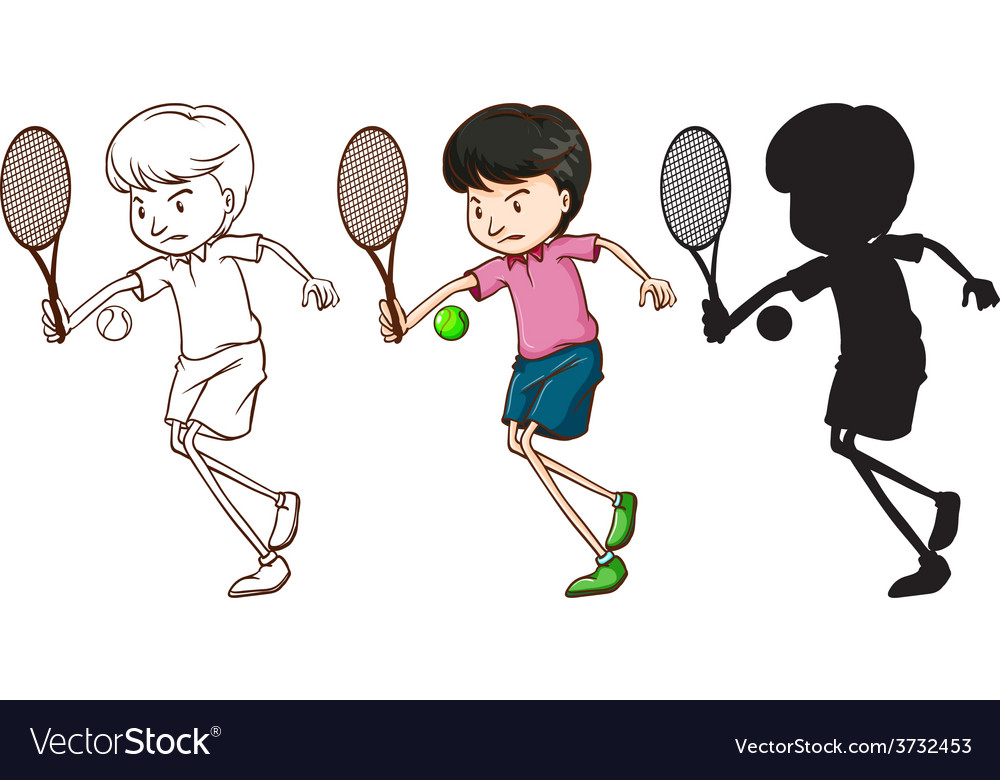 A boy playing tennis vector | Price: 1 Credit (USD $1)