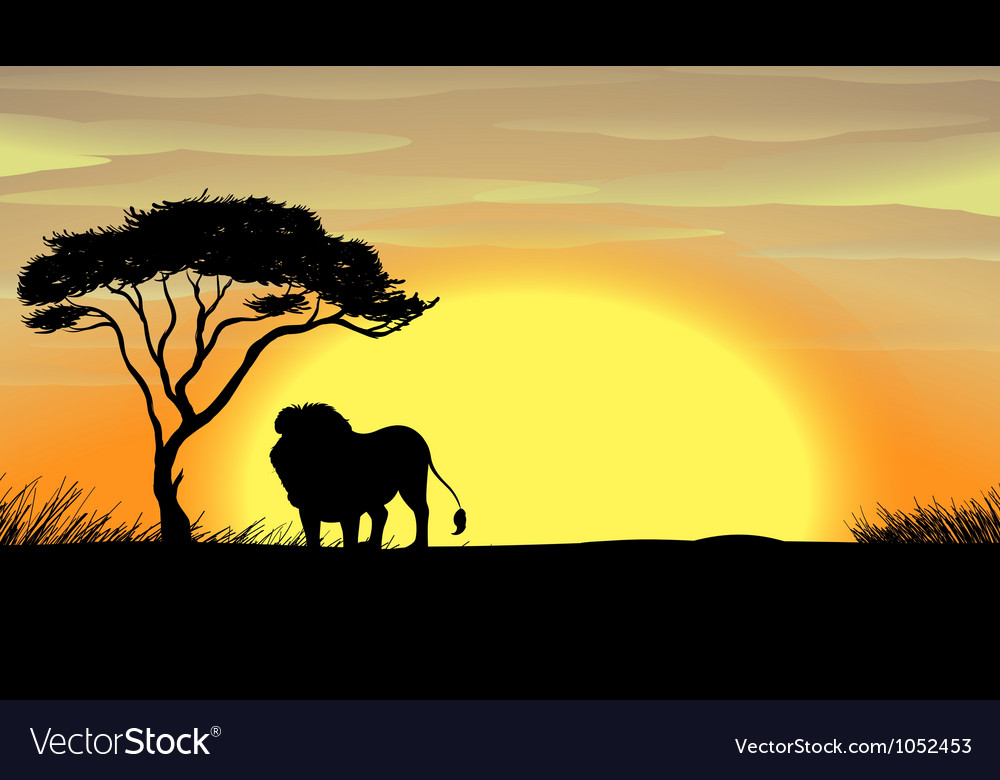 A lion under tree vector | Price: 1 Credit (USD $1)