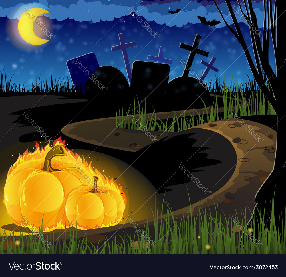 Burning pumpkins on the old cemetery vector   Price: 3 Credit (USD $3)