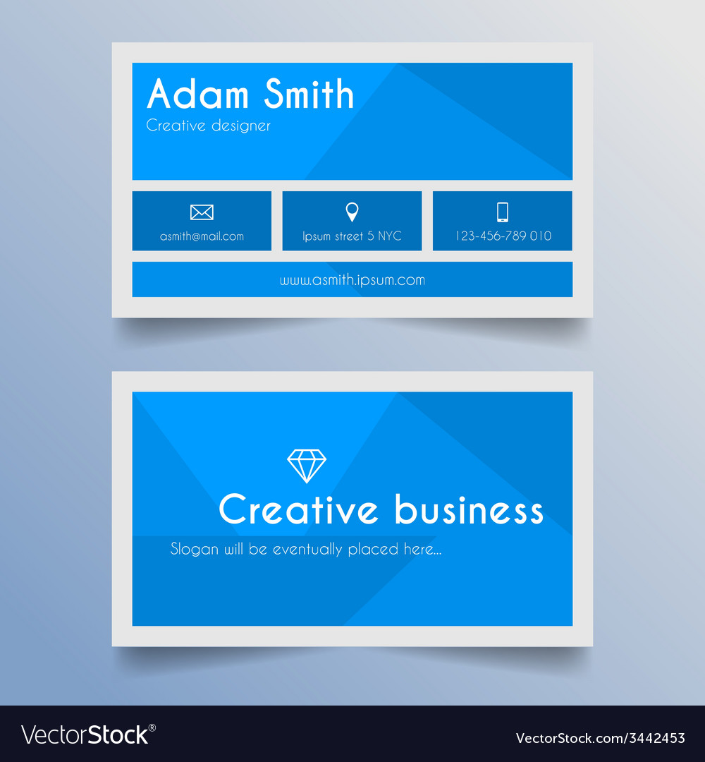 Business card template - blue and light grey desig vector | Price: 1 Credit (USD $1)