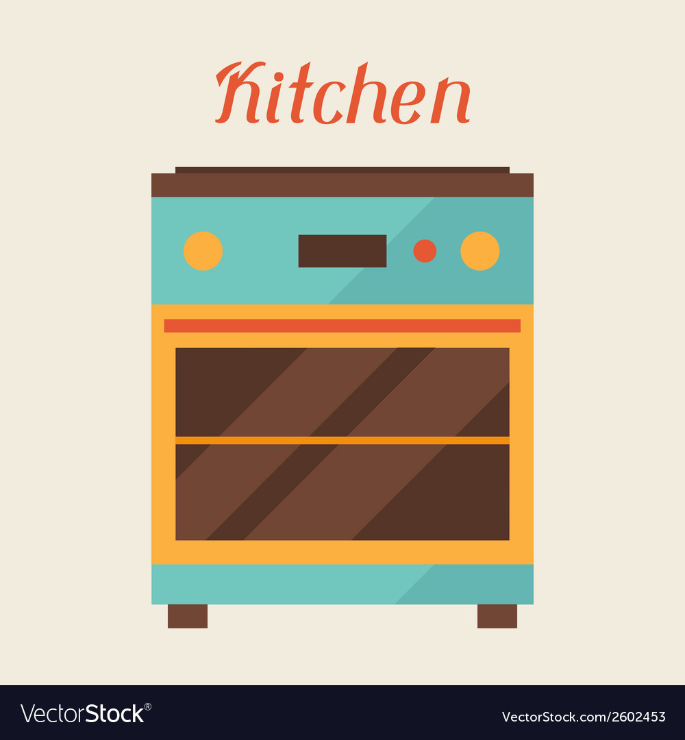 Card with kitchen oven in retro style vector | Price: 1 Credit (USD $1)