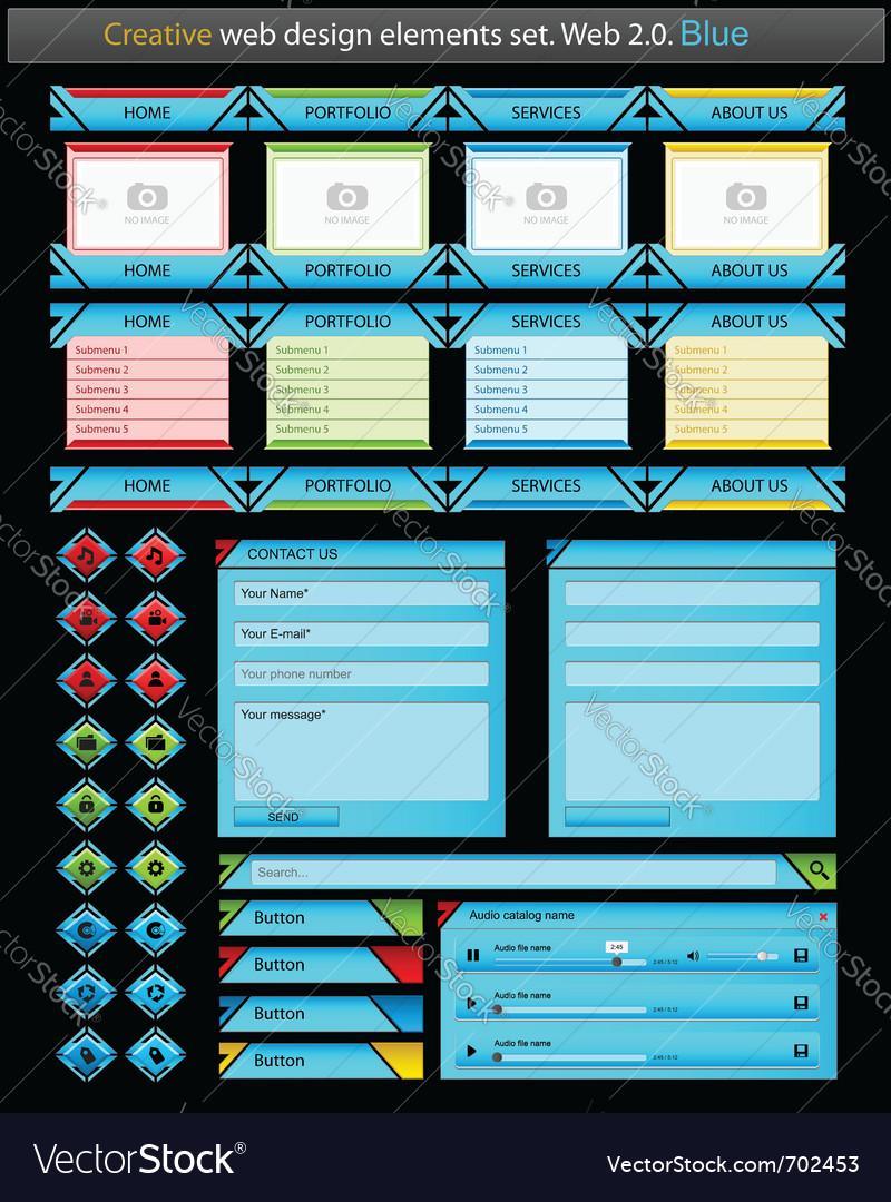 Creative web design elements set vector | Price: 3 Credit (USD $3)