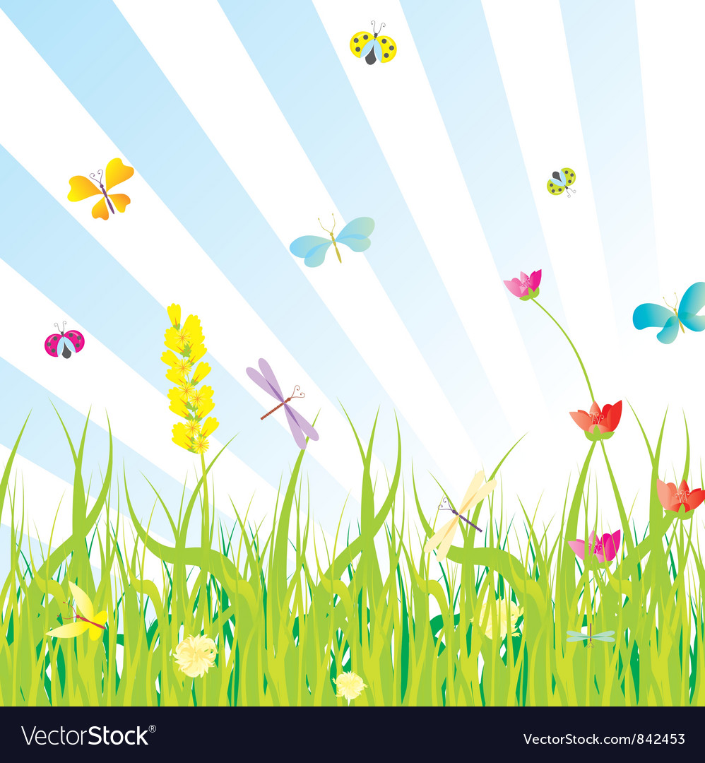 Grass flowers butterflies meadow vector | Price: 1 Credit (USD $1)