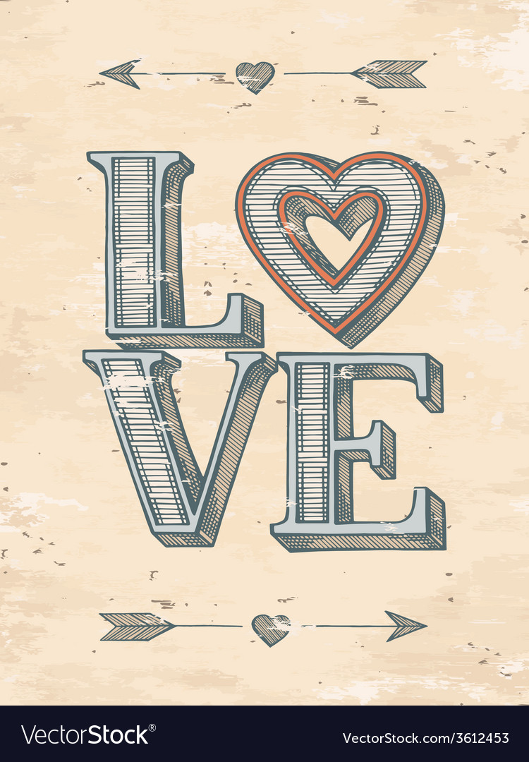Hand drawn love poster vector | Price: 1 Credit (USD $1)