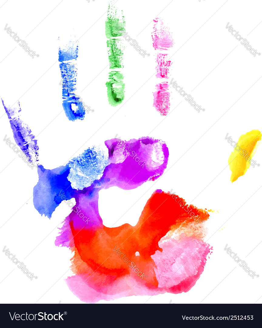 Handprint in vibrant colors of the rainbow vector | Price: 1 Credit (USD $1)