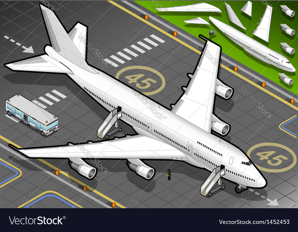Isometric white airplane landed in front view vector | Price: 1 Credit (USD $1)