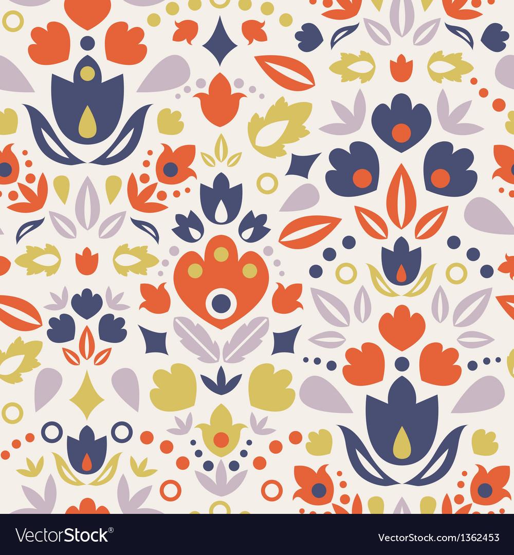 Ornamental folk tulips seamless pattern background vector | Price: 1 Credit (USD $1)