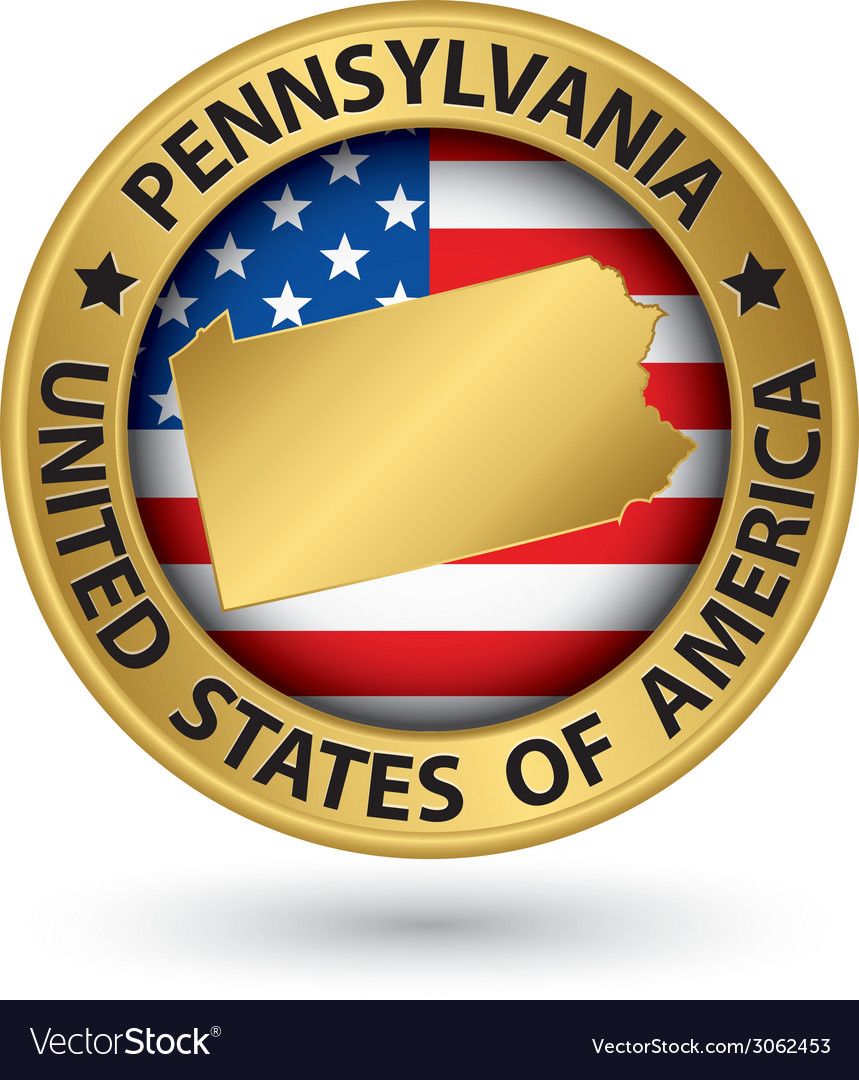 Pennsylvania state gold label with state map vector | Price: 1 Credit (USD $1)
