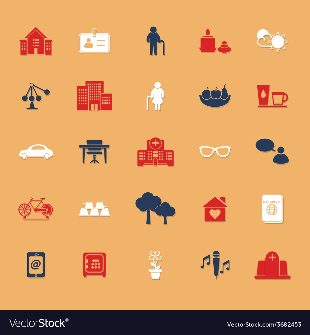 Retirement community flat icons with shadow vector | Price: 1 Credit (USD $1)