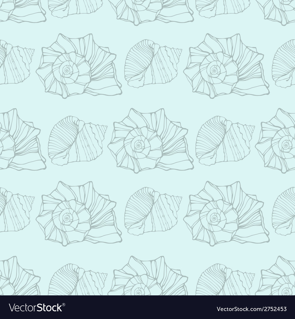 Seamless pattern with decorative shells vector | Price: 1 Credit (USD $1)