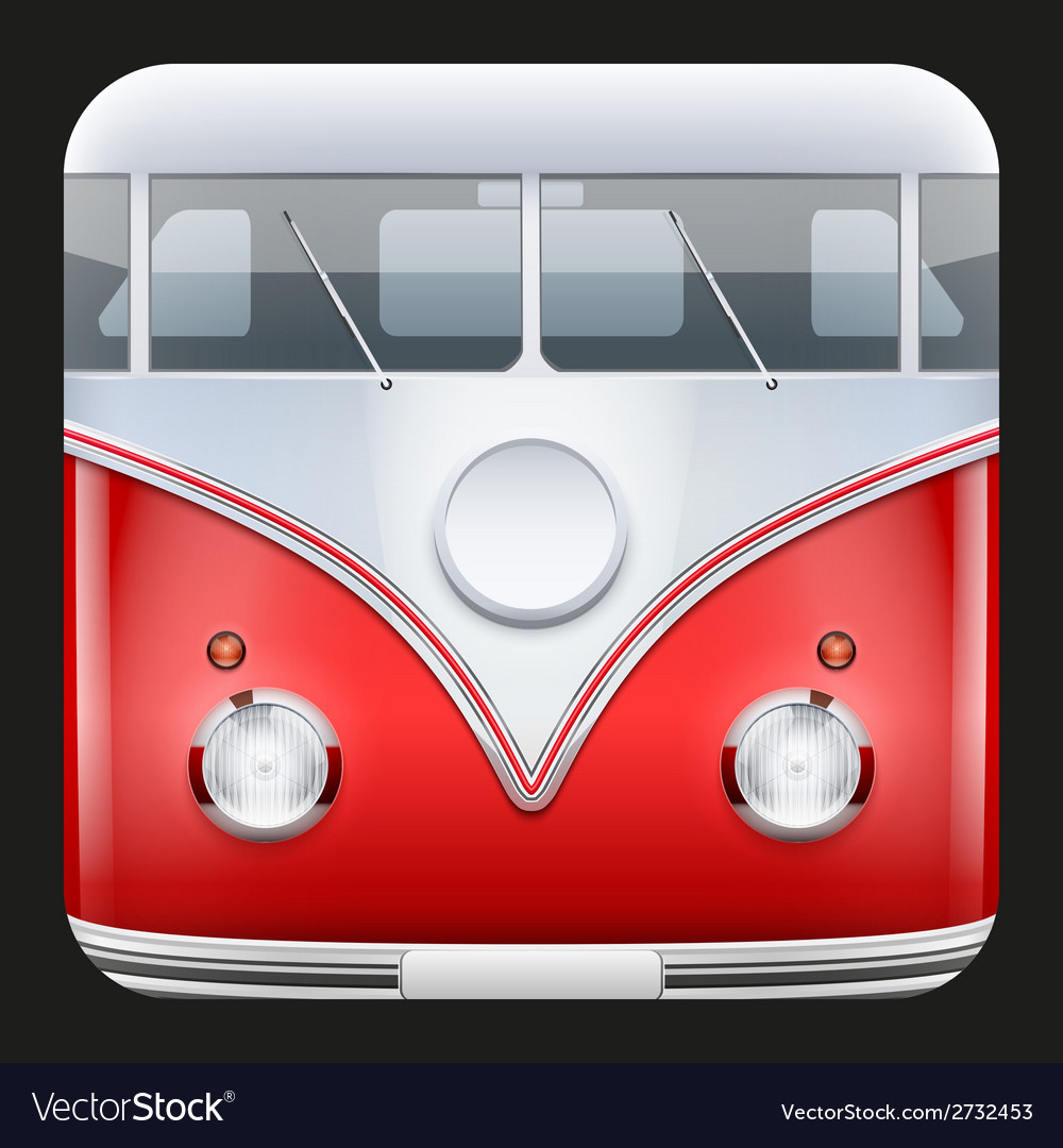 Square icon popular bus classic camper van vector | Price: 1 Credit (USD $1)