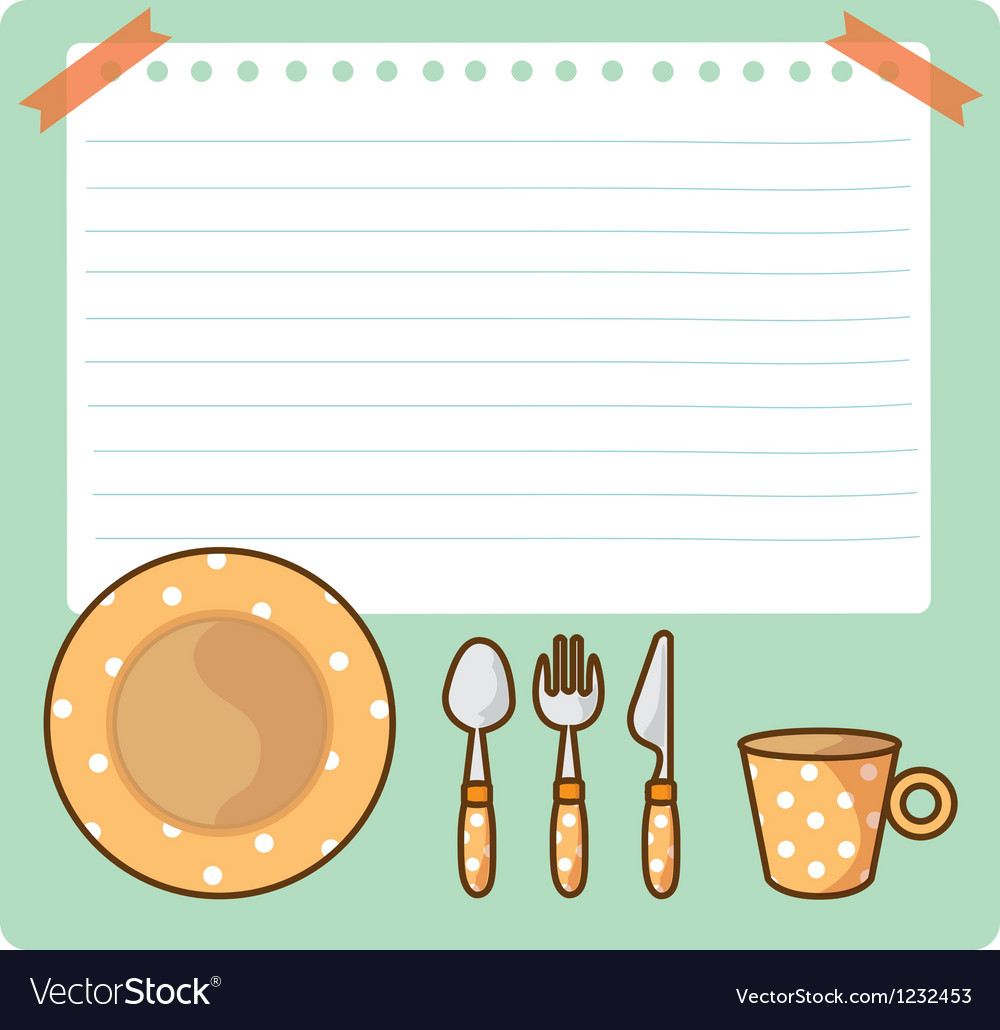 Tableware and notepad cartoon vector | Price: 1 Credit (USD $1)