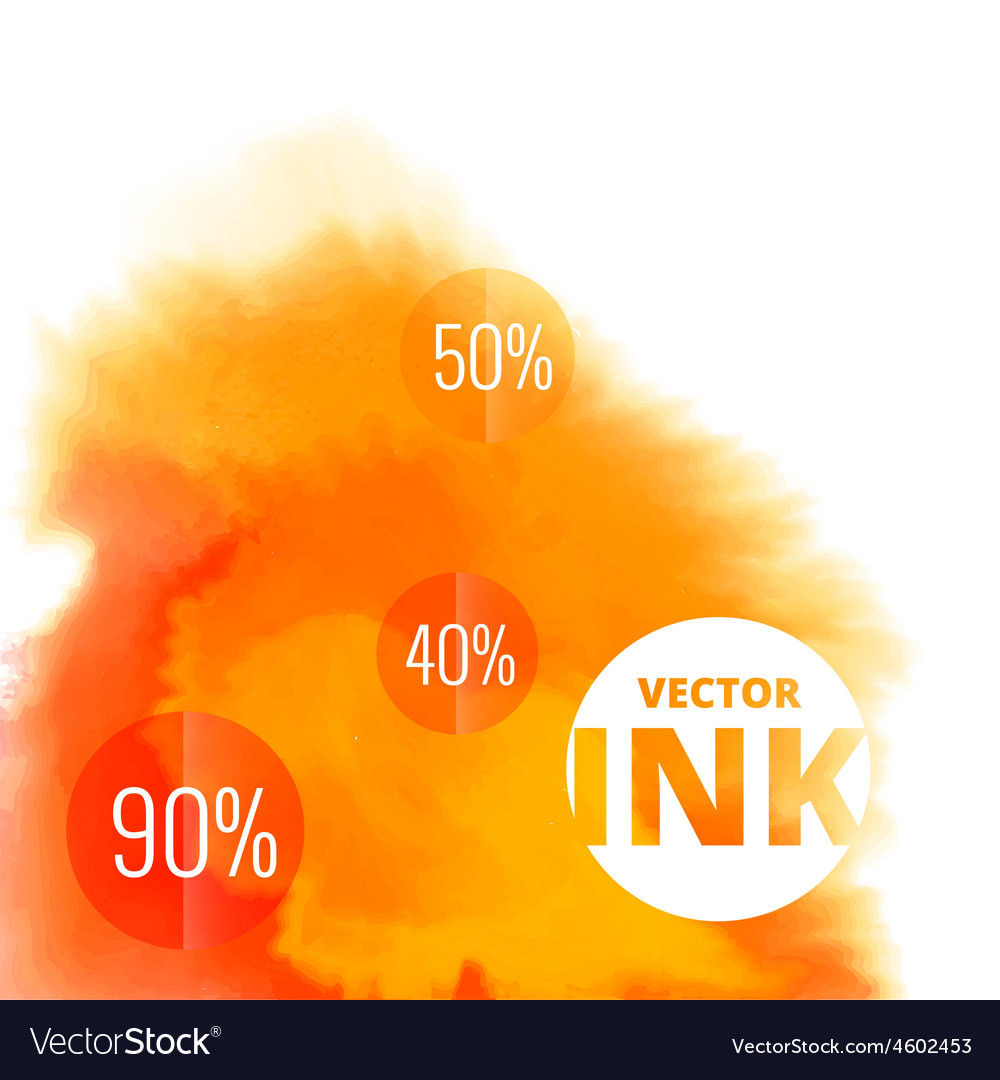 Water ink splash burst in orange color vector | Price: 1 Credit (USD $1)
