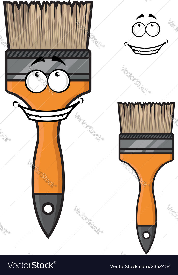 Cartoon paintbrush with a wide happy smile vector | Price: 1 Credit (USD $1)