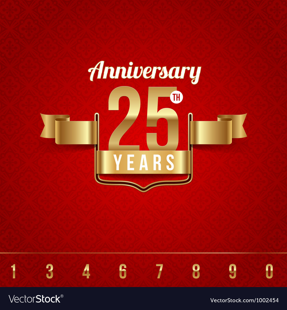 Decorative golden emblem of anniversary vector