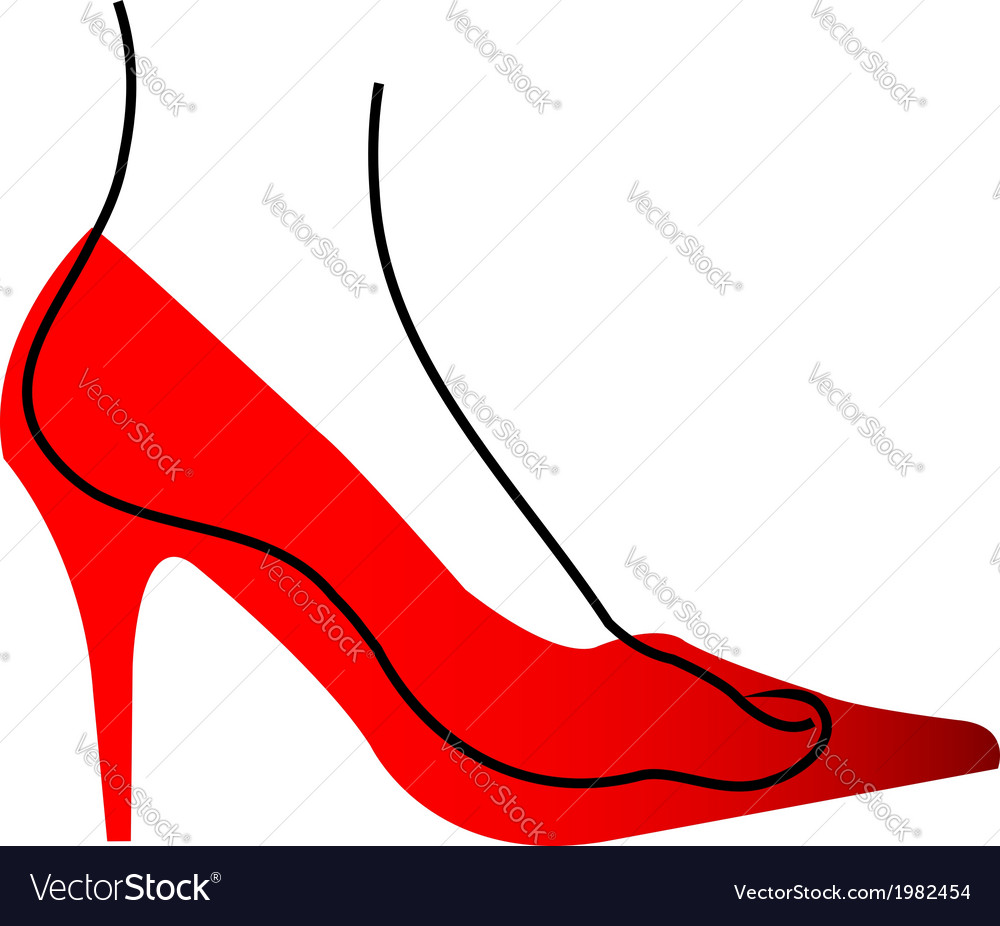 Foot in a red shoe diagram vector | Price: 1 Credit (USD $1)