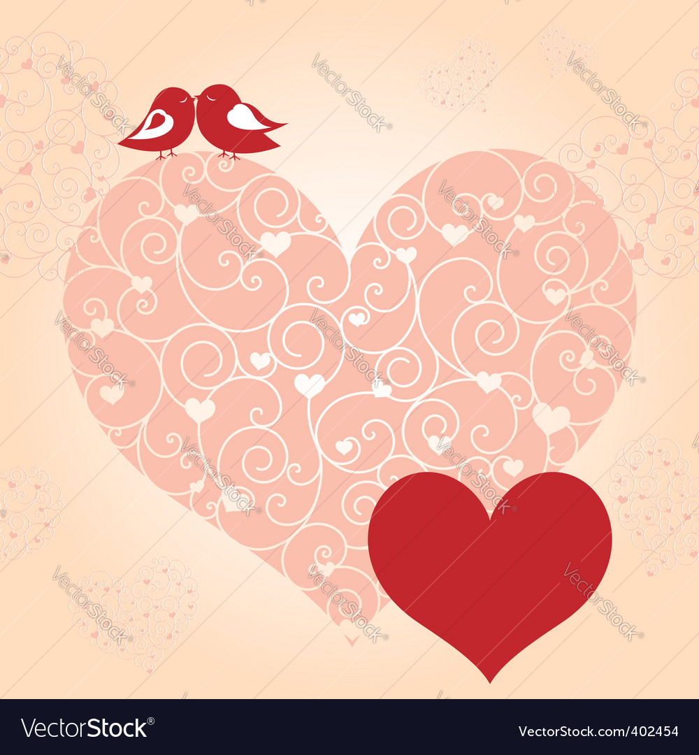 Lovebird greeting card vector | Price: 1 Credit (USD $1)