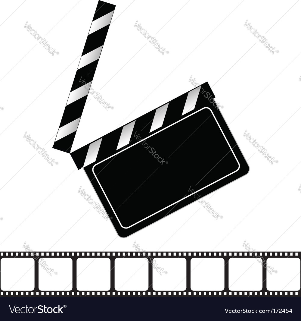Movie clapper board and filmstrip vector | Price: 1 Credit (USD $1)