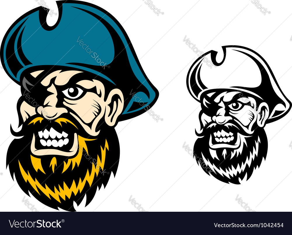 Old pirate captain in cartoon style vector | Price: 1 Credit (USD $1)