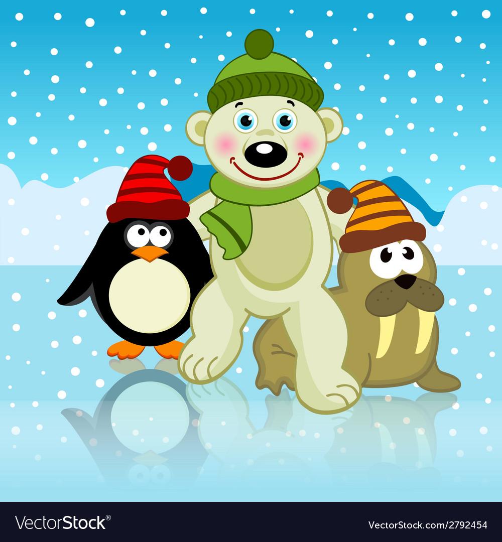 Polar bear walrus penguin friends vector | Price: 1 Credit (USD $1)