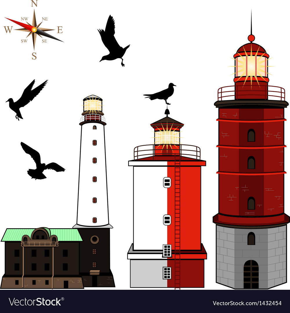 Set of lighthouses vector | Price: 1 Credit (USD $1)
