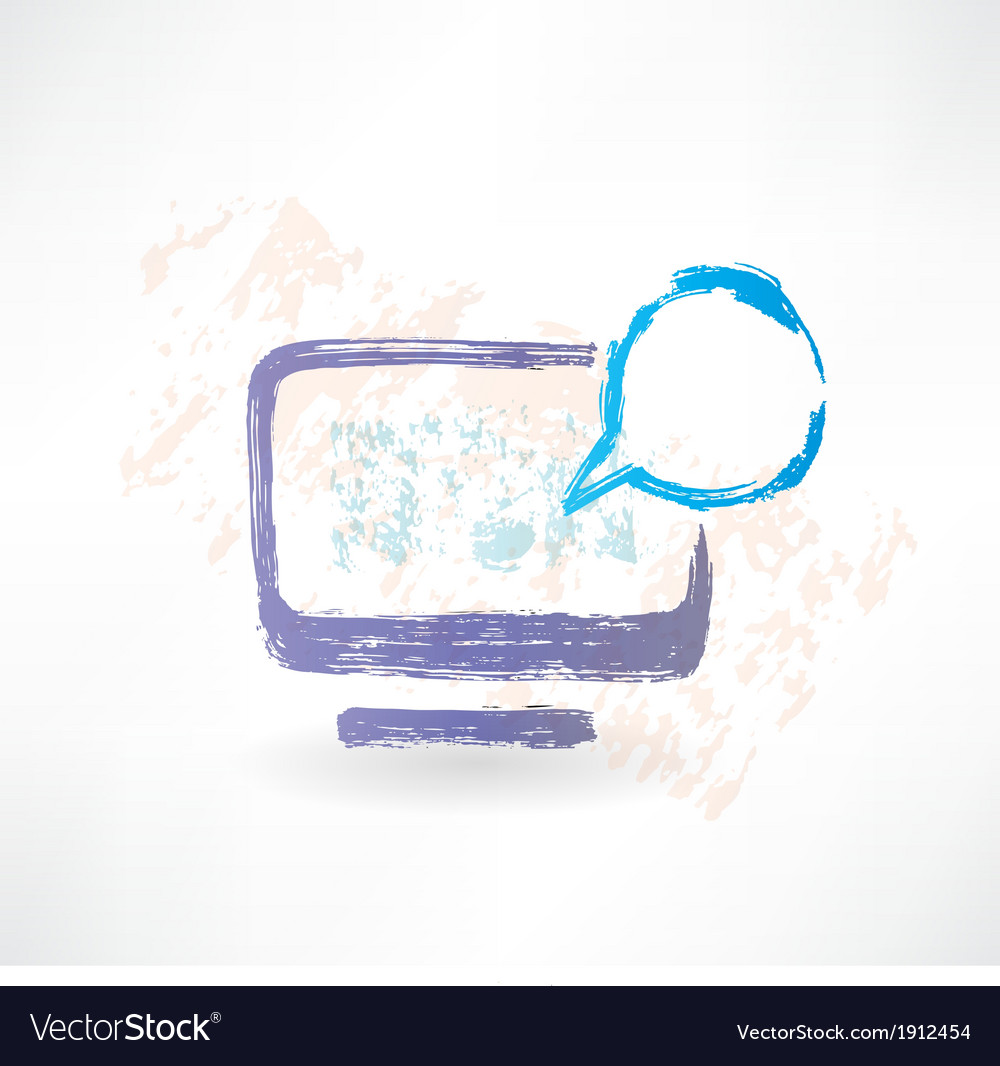 Talking monitor with bubble screen brush icon vector | Price: 1 Credit (USD $1)