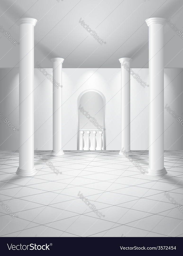 White hall with columns vector | Price: 1 Credit (USD $1)