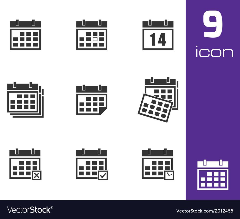 Black calendar icons set vector | Price: 1 Credit (USD $1)