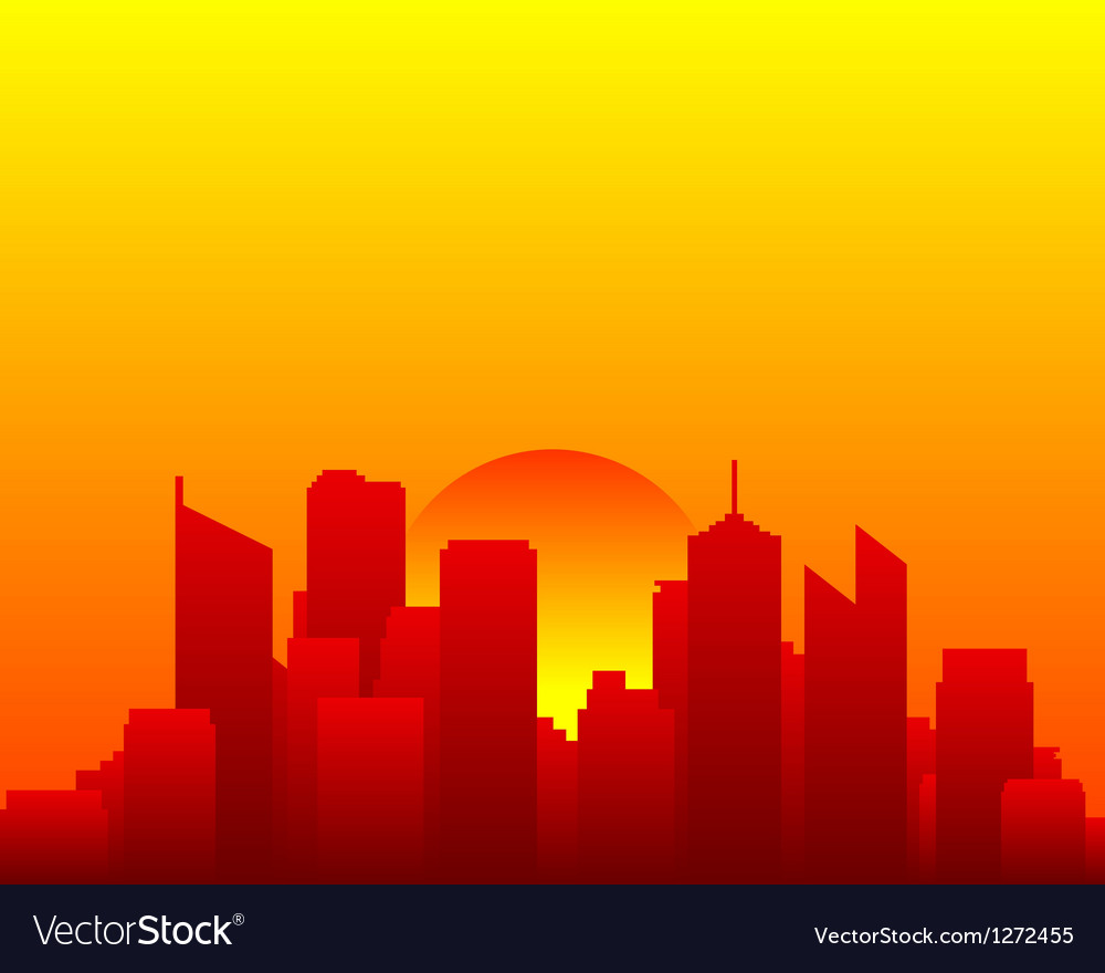 City skyline and sun vector | Price: 1 Credit (USD $1)