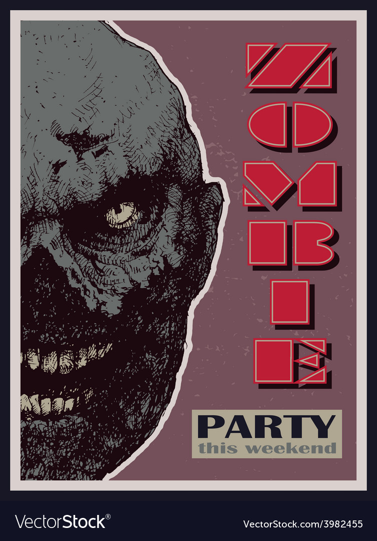 Halloween zombie party banner vector | Price: 3 Credit (USD $3)