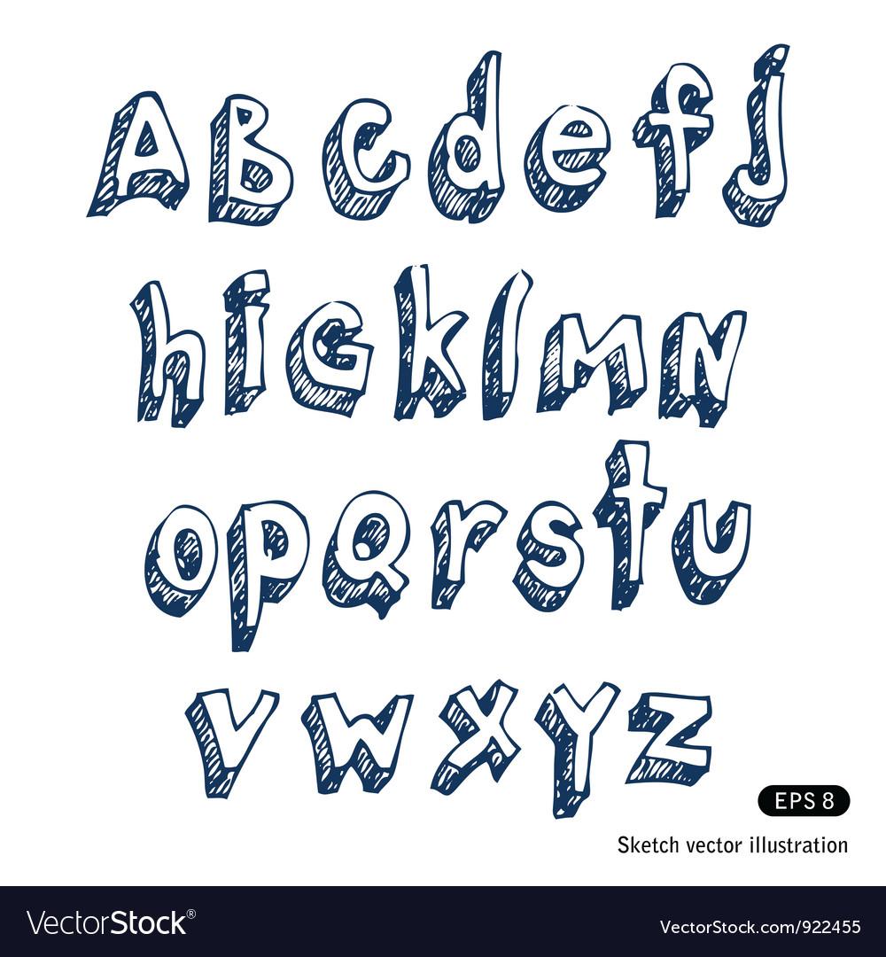 Hand drawn alphabet vector   Price: 1 Credit (USD $1)