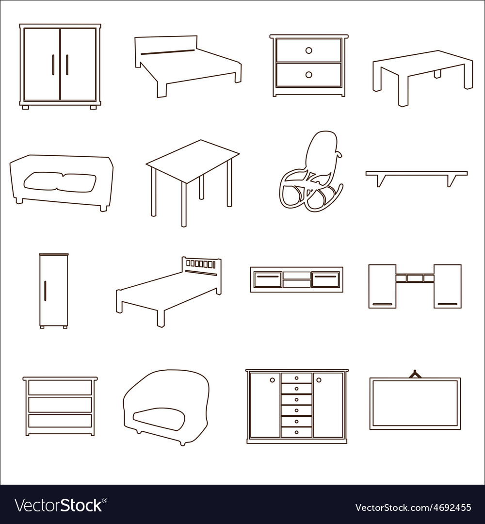 Home furniture types outline icons set eps10 vector | Price: 1 Credit (USD $1)