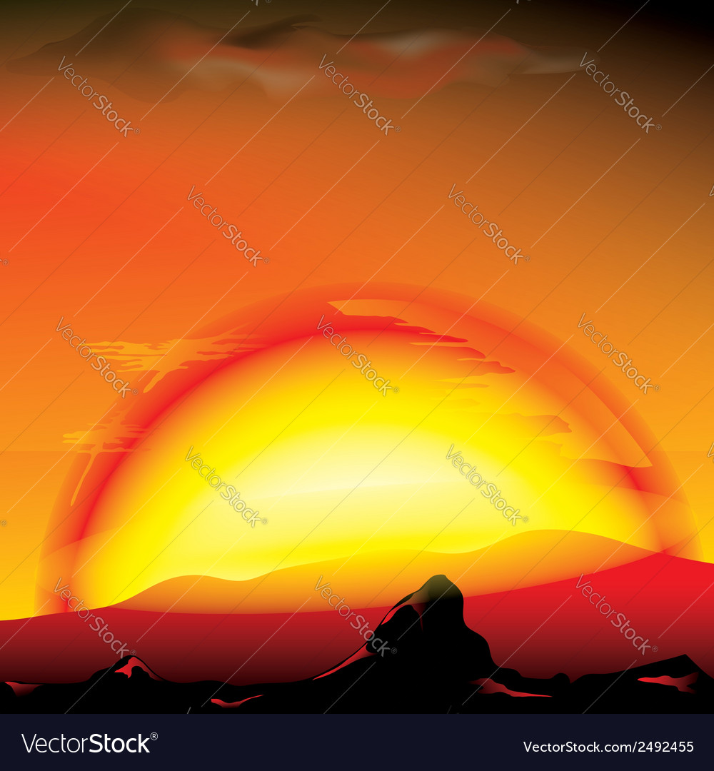 Red sunset with silhouette of mountains vector | Price: 1 Credit (USD $1)