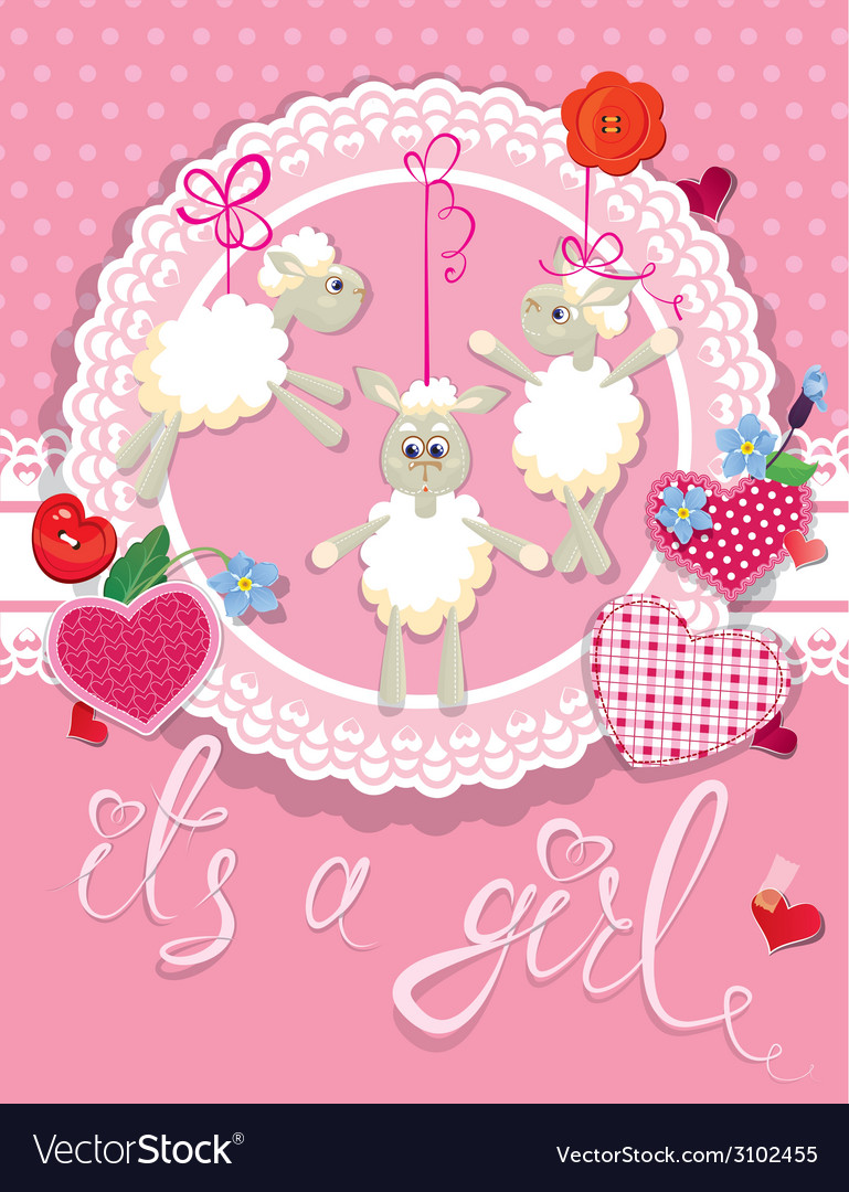 Sheep pink card 380 vector | Price: 1 Credit (USD $1)
