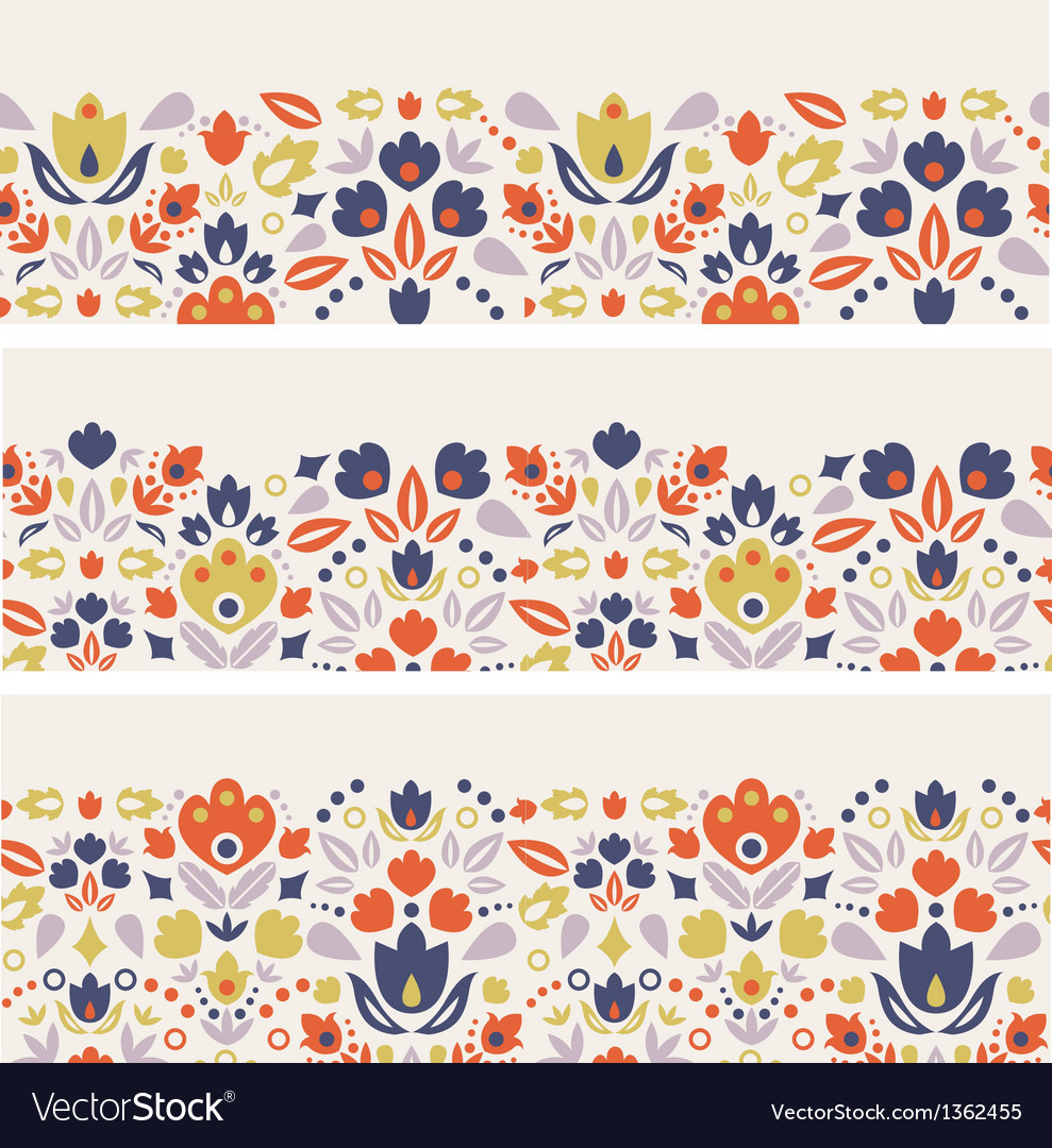 Three ornamental folk tulips horizontal seamless vector | Price: 1 Credit (USD $1)