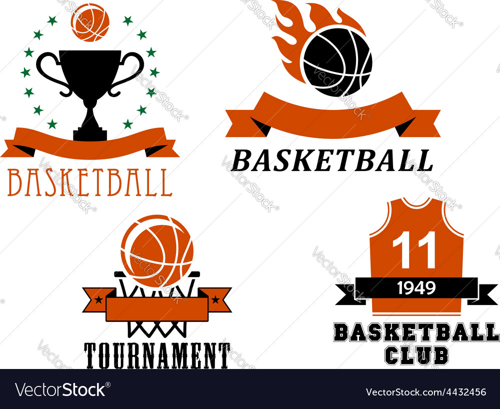 Basketball club and tournament emblem templates vector | Price: 1 Credit (USD $1)