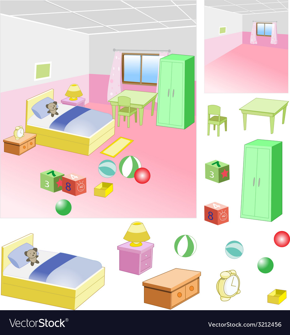 Bedroom - children room with a friendly atmosphe vector | Price: 1 Credit (USD $1)