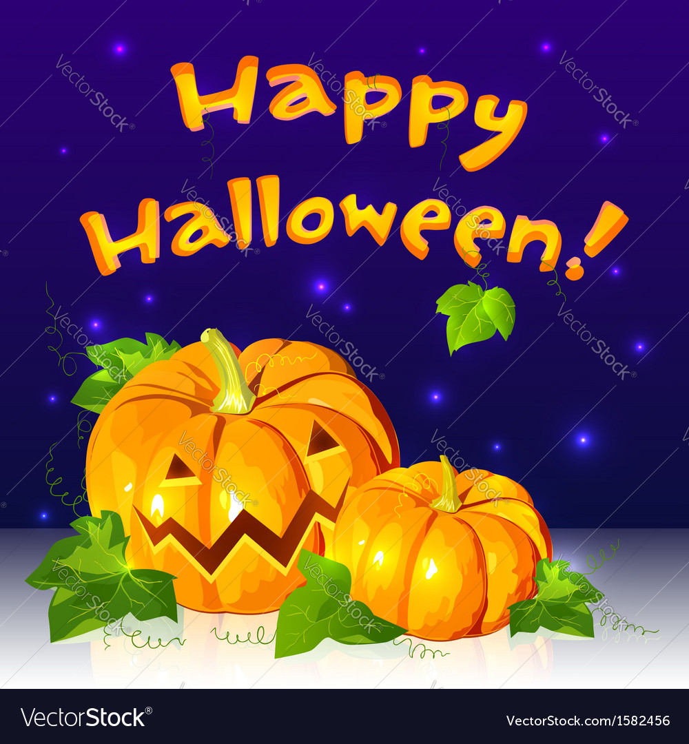 Big halloween pumpkins with sign vector | Price: 1 Credit (USD $1)