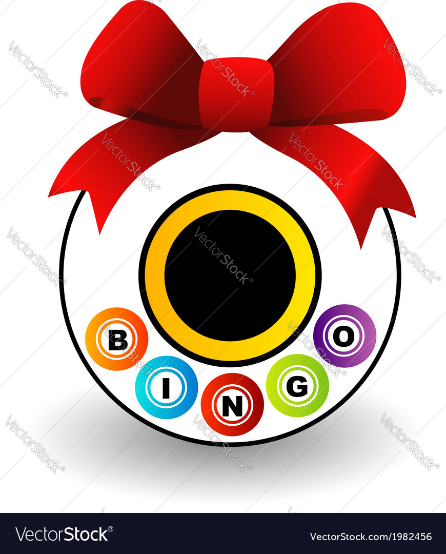 Bingo logo with a red bow vector | Price: 1 Credit (USD $1)