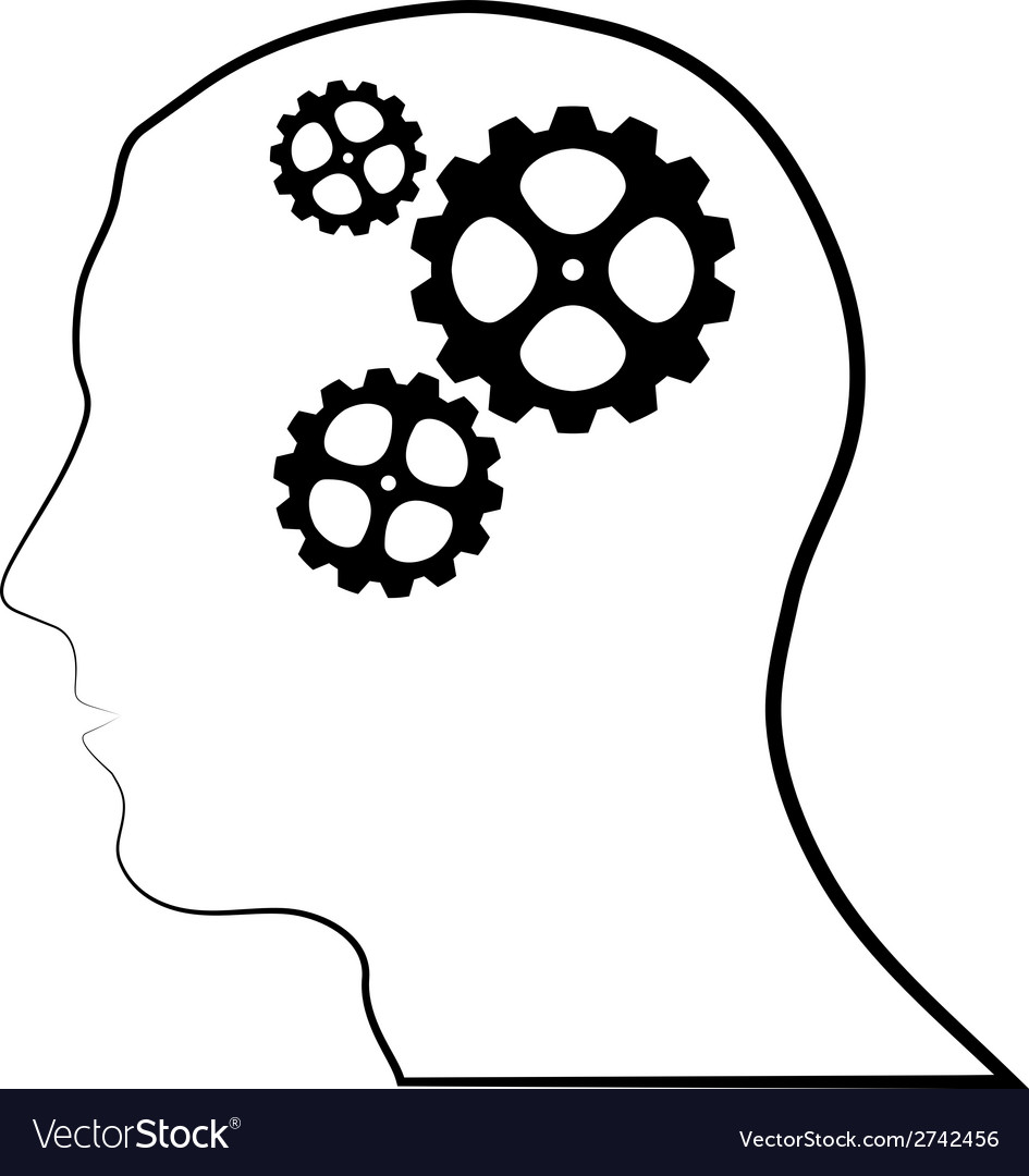 Brain of gears silhouette vector | Price: 1 Credit (USD $1)