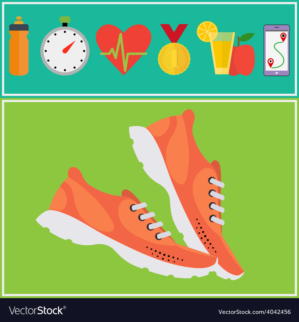 Jogging and running concept flat icons vector | Price: 1 Credit (USD $1)