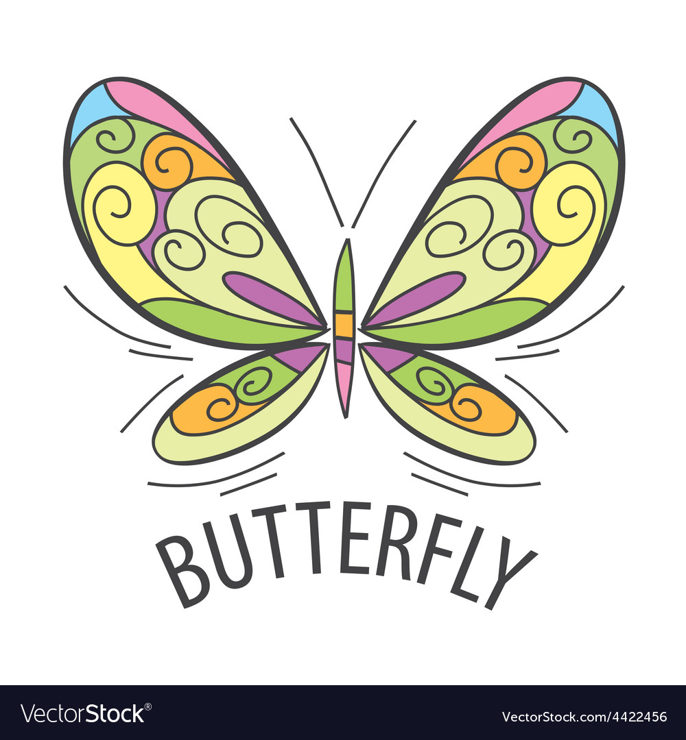 Logo graceful butterfly flies vector | Price: 1 Credit (USD $1)