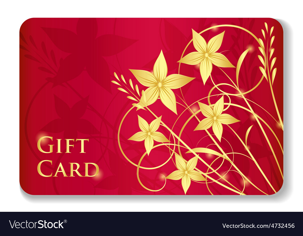 Luxury red gift card with golden swirls and vector | Price: 1 Credit (USD $1)