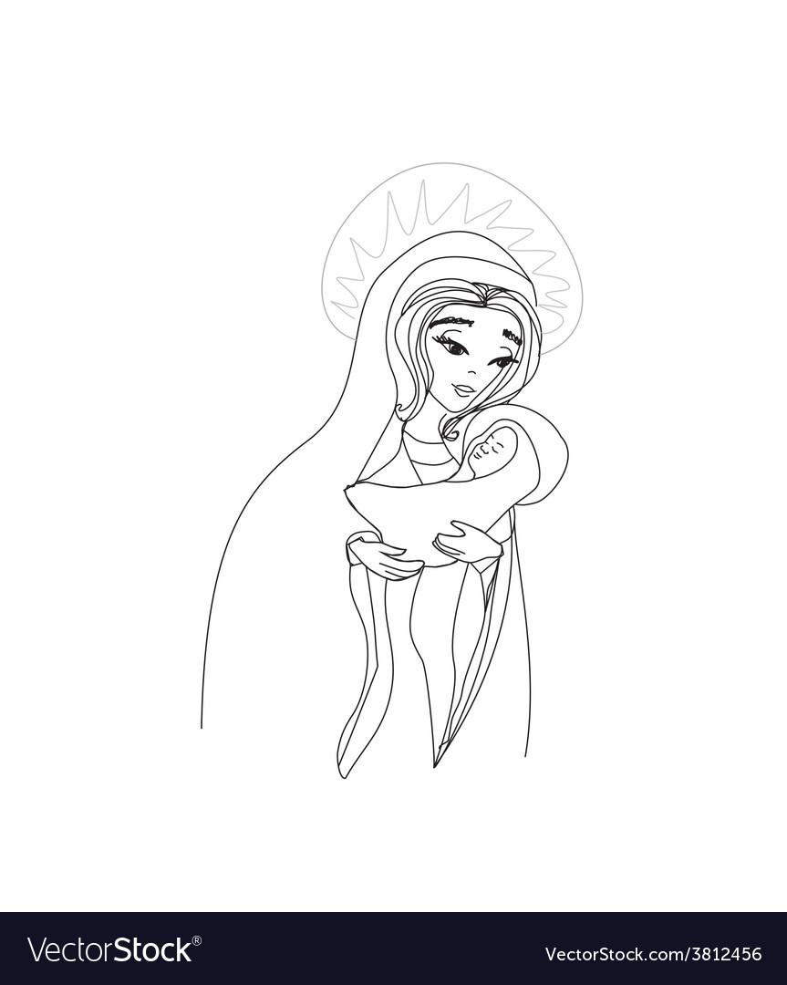 Madonna and child jesus vector | Price: 1 Credit (USD $1)