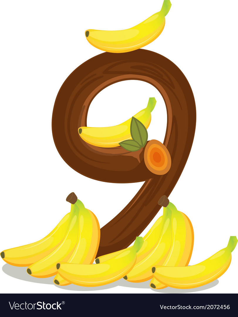 Nine bananas vector | Price: 1 Credit (USD $1)