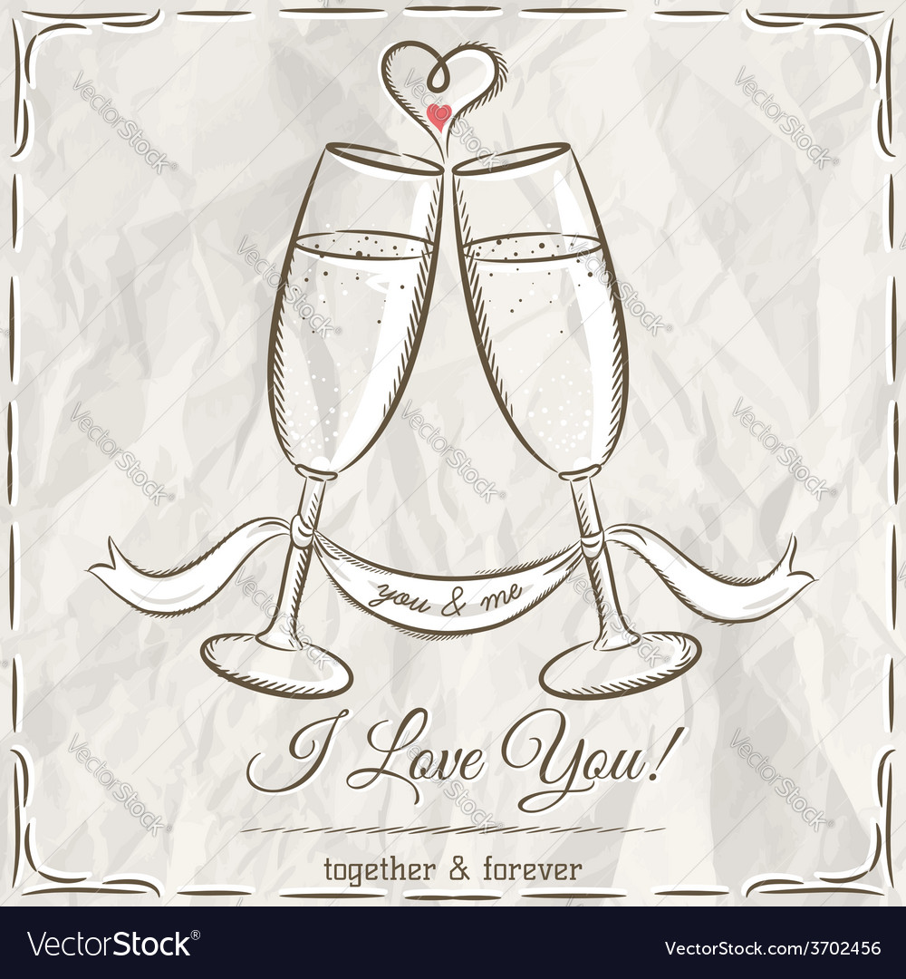 Romantic card with two glass of champagne and wish vector | Price: 1 Credit (USD $1)
