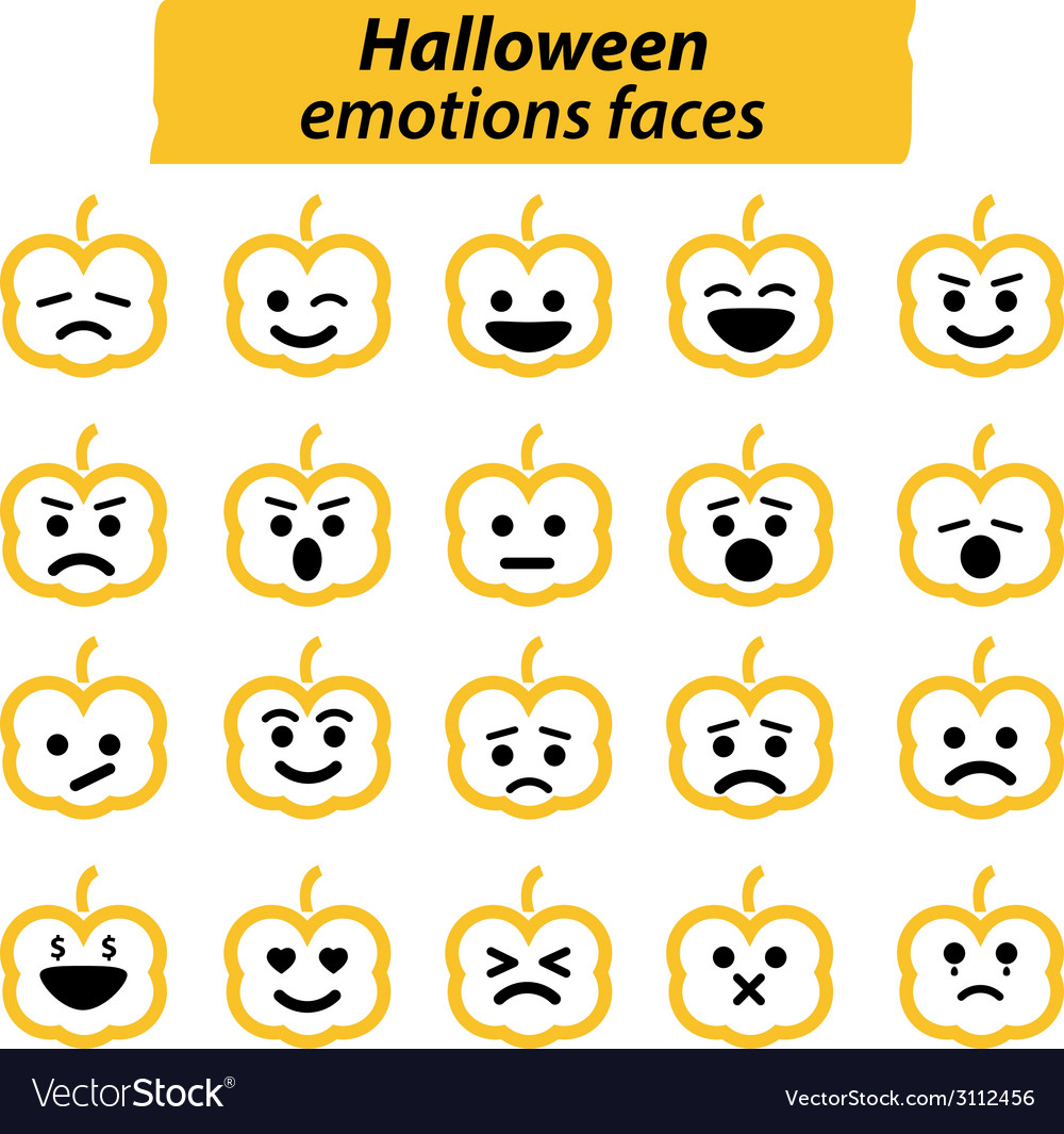 Set of halloween pumpkins icon emotions face vector | Price: 1 Credit (USD $1)