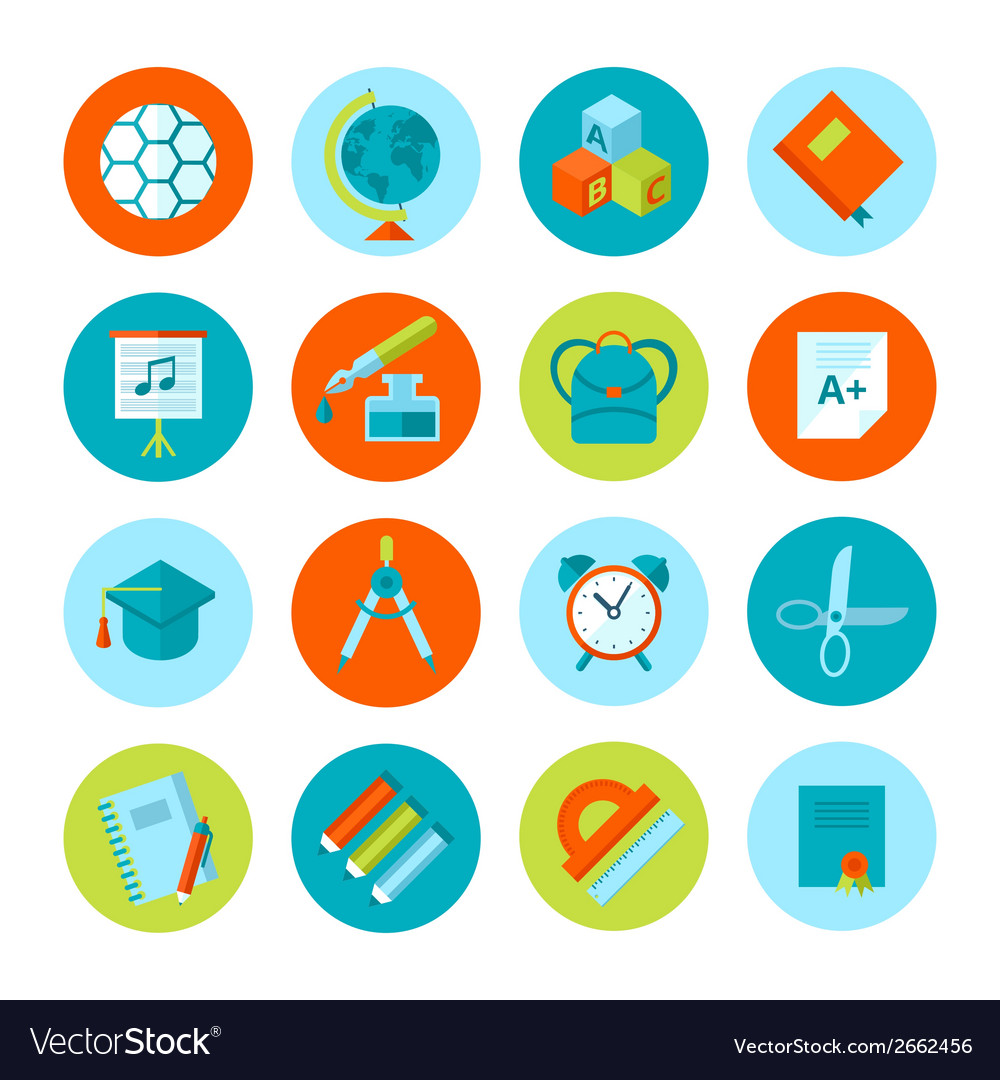 Set of school and education icons vector   Price: 1 Credit (USD $1)