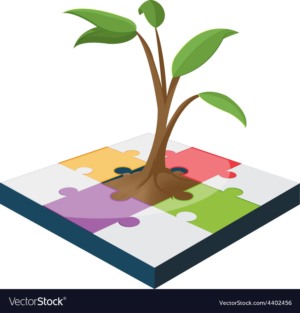 Tree jigsaw business color growth vector | Price: 1 Credit (USD $1)